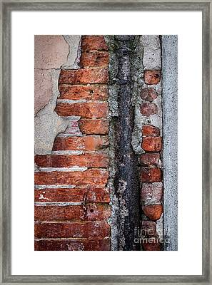 Framed Print featuring the photograph Old Brick Wall Fragment by Elena Elisseeva