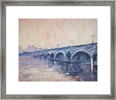 Old Bridge Of Maastricht In Warm Diffuse Autumn Light Framed Print by Nop Briex