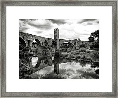 Old Bridge With Reflection Framed Print