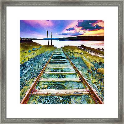 Old Broken Railway Track Watercolor Framed Print