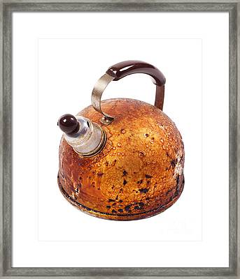 Old Brown Worn Kettle And Whistle On Spout  Framed Print