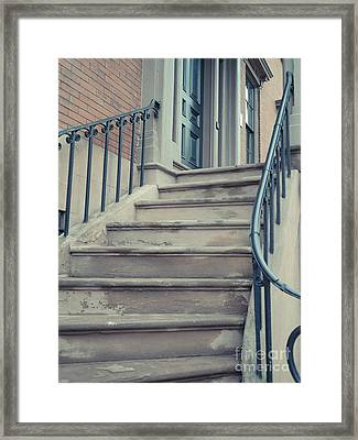 Old Brownstone Staircase Framed Print by Edward Fielding