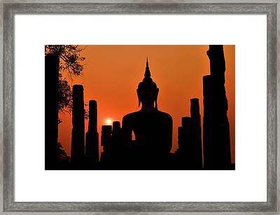 Old Buddha Silhouette In Sukhothai Historical Park Framed Print