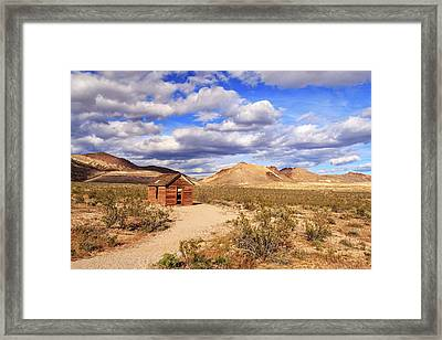 Framed Print featuring the photograph Old Cabin At Rhyolite by James Eddy