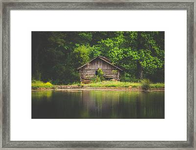 Old Cabin By The Lake Framed Print by Shelby Young
