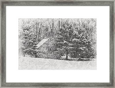 Old Cabin In Winter Framed Print