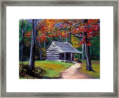 Old Cabin Plein Aire Framed Print by David Lloyd Glover