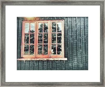 Old Cabin Window Framed Print by Tom Gowanlock