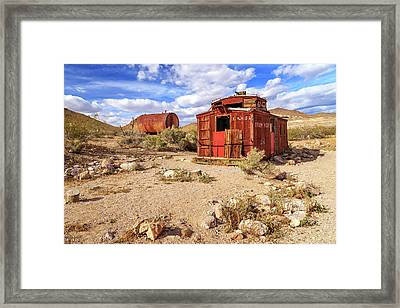 Framed Print featuring the photograph Old Caboose At Rhyolite by James Eddy
