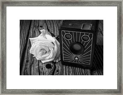 Old Camera And White Rose Framed Print by Garry Gay