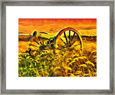Old Cannon In A Sunset Field Framed Print