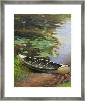 Old Canoe Framed Print by Anna Rose Bain