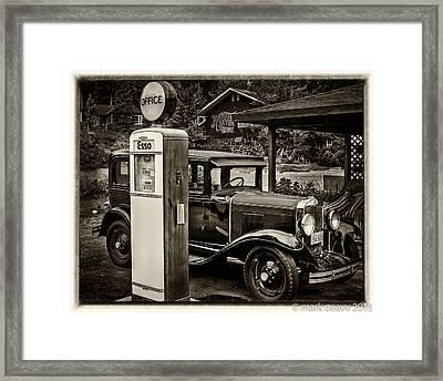 Old Car @ Gas Station Framed Print
