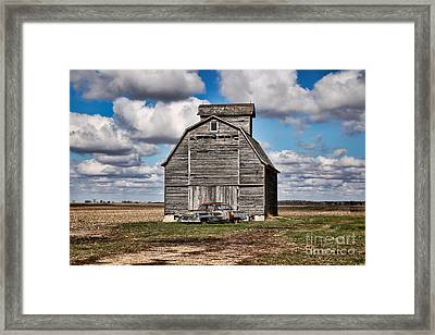 Old Car And Barn Framed Print by Scott Nelson