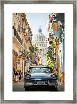 Old Car And El Capitolio Framed Print