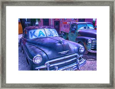 Old Car And Pickup Route 66 Framed Print by Garry Gay
