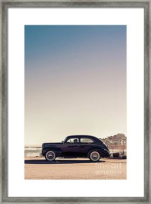 Old Car At The Beach Framed Print by Edward Fielding