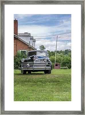Old Car In Front Of House Framed Print by Edward Fielding
