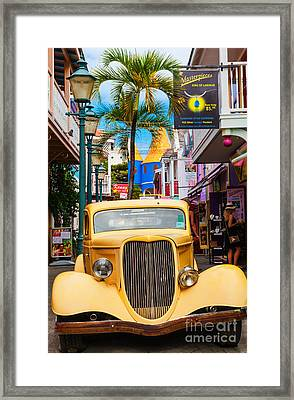 Old Car On Old Street Framed Print by Diane Macdonald