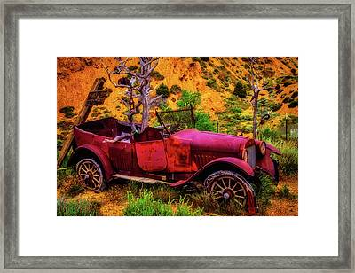 Old Car Rusting Away Framed Print by Garry Gay