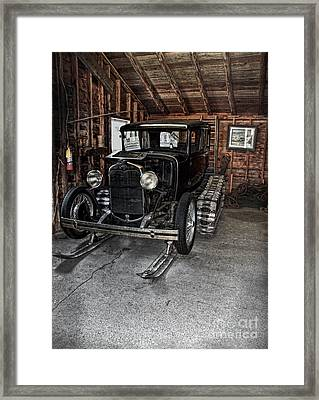Old Car Snow Ski Framed Print