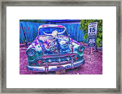 Old Car With Steer Skull Framed Print
