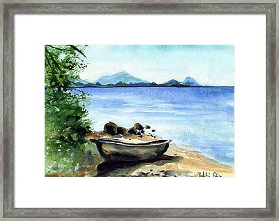Framed Print featuring the painting Old Carved Boat At Lake Malawi by Dora Hathazi Mendes