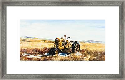 Old Case Tractor Framed Print by Gary Wynn