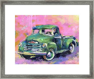 Old Chevy Chevrolet Pickup Truck On A Street Framed Print