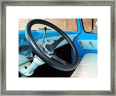 Old Chevy Steering Wheel Framed Print