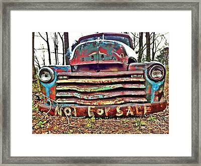 Framed Print featuring the photograph Old Chevy Truck With Graffiti by T Lowry Wilson