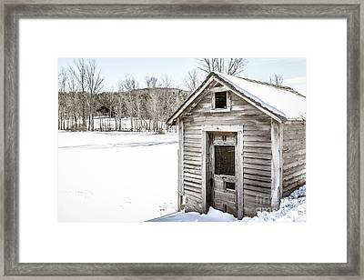 Old Chicken Coop In Winter Framed Print