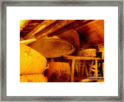 Old Chinese House Attic Framed Print by Kathy Daxon