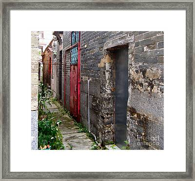 Old Chinese Village Narrow Walkway Framed Print by Kathy Daxon