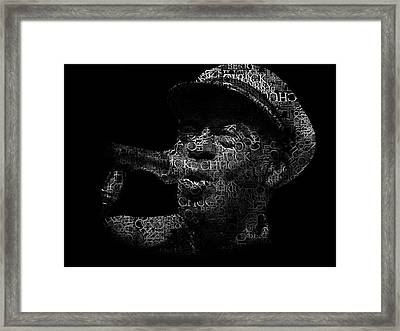 Old Chuck Berry Singing Text Portrait - Typographic Face Poster With The Name Of Chuck Berry Albums Framed Print by Jose Elias - Sofia Pereira