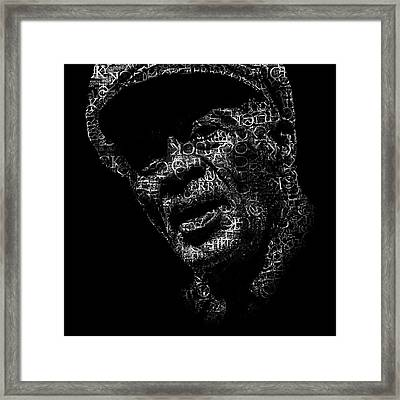Old Chuck Berry Text Portrait - Typographic Face Poster With The Name Of Chuck Berry Albums Framed Print by Jose Elias - Sofia Pereira