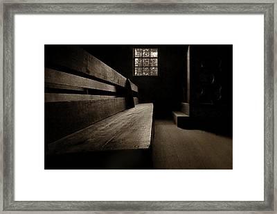 Old Church - Pew - Sepia Framed Print by Nikolyn McDonald