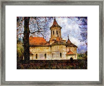 Old Church With Red Roof Framed Print