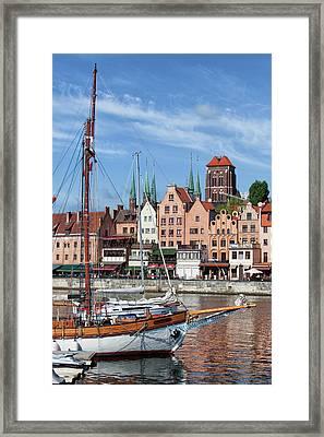 Old City Of Gdansk River View Framed Print