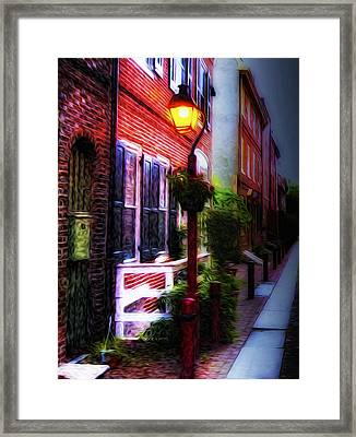 Old City Streets - Elfreth's Alley Framed Print by Bill Cannon