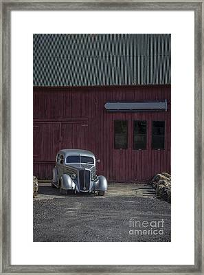 Old Classic Car At The Barn Framed Print by Edward Fielding