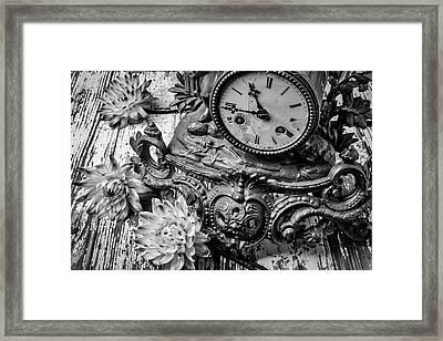 Old Clock And Dahlias Framed Print