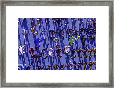 Old Clothes Hooks Framed Print by Garry Gay