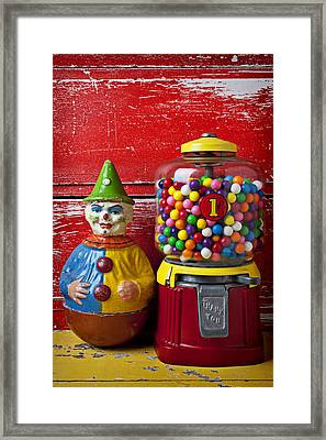 Old Clown Toy And Gum Machine  Framed Print by Garry Gay