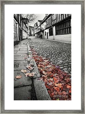 Old Cobbled Street Black And White Framed Print by Simon Bratt Photography LRPS