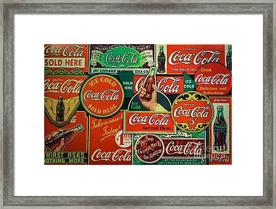 Old Coca-cola Sign Collage Framed Print