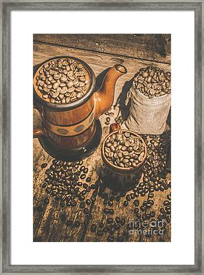 Old Coffee Brew House Beans Framed Print