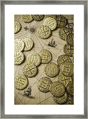 Old Coins On Old Map Framed Print by Garry Gay