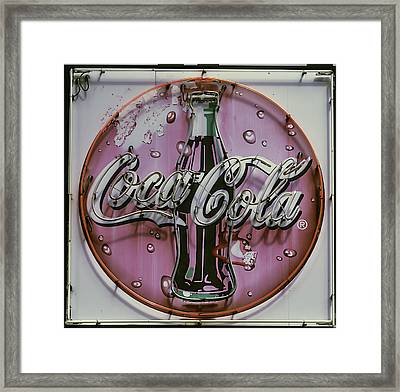 Old Coke Neon Sign Framed Print by Garry Gay