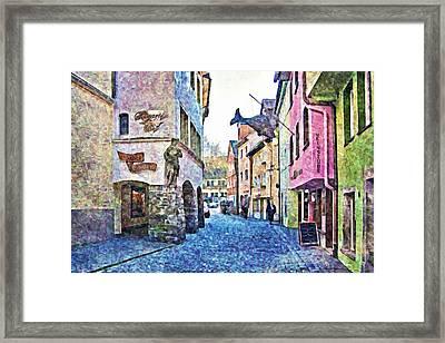 Old Colorful Street - Digital Paint Framed Print